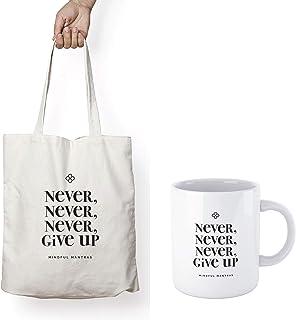 MOTIVATIONAL TOTE BAG & MUG GIFT SET - NEVER NEVER NEVER GIVE UP - Positive Mantra Affirmation to uplift you all day long....