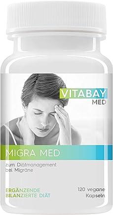 Migra MED - 750 mg Pestwurz Extrakt mit 200 mg Mutterkraut - Zum Diätmanagement bei Migräne (120 vegane Kapseln)