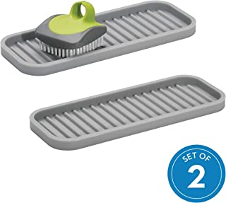 iDesign Lineo Kitchen Sink Tray for Sponges, Scrubbers, and Soap - Gray, Pack of 2