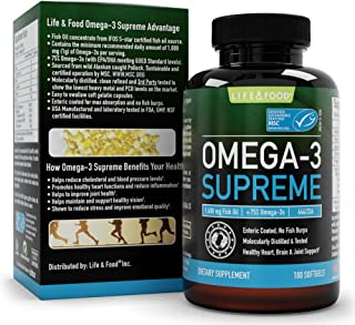 Omega 3 Supreme Strength 1400 mg - High EPA DHA Fish Oil (3 MO. SUPPLY*) 180 Burpless Softgels, MSC Certified & 3rd Party Tested - Improved Absorption