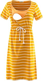 GINKANA Women's Short Sleeves Stripe Maternity Dress Nursing Breastfeeding Dresses with Pockets