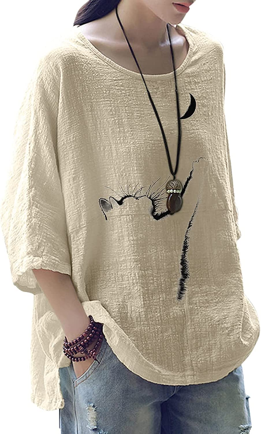 Cute Cat Tops for Women Fall Casual 3/4 Sleeve Linen Shirts Tee Round Neck Fashion Tunic Blouse T Shirts Pullover