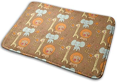 Lion Giraffe and Elephant with Flowers Carpet Non-Slip Welcome Front Doormat Entryway Carpet Washable Outdoor Indoor Mat Room