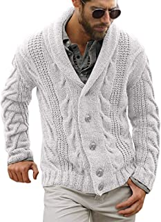 Gafeng Mens Shawl Collar Cable Rib Knitted Button Closure Casual Winter Chunky Thermal Long Sleeve Solid Cardigan Sweater
