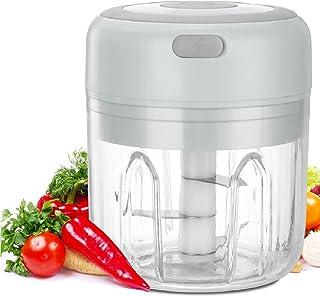 Jooheli Picadora de Alimentos,250ML Picador de Ajo Eléctrica Procesador de Alimentos con 3 Cuchillas Afiladas Licuadora para Alimentos para Bebés, Carne, Frutas y Nueces