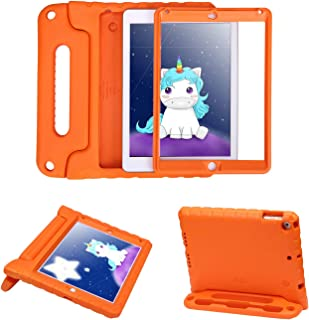 HDE Case for iPad Air - Kids Shockproof Bumper Hard Cover Handle Stand with Built in Screen Protector for Apple iPad Air 1 - 2013 Release 1st Generation (Orange)