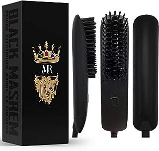 BLACK MASREM Lisseur Barbe 2 en 1 ● Brosse Lissante barbe et cheveux conçu pour les Homme ● Peigne Pour L'entretien des Ch...