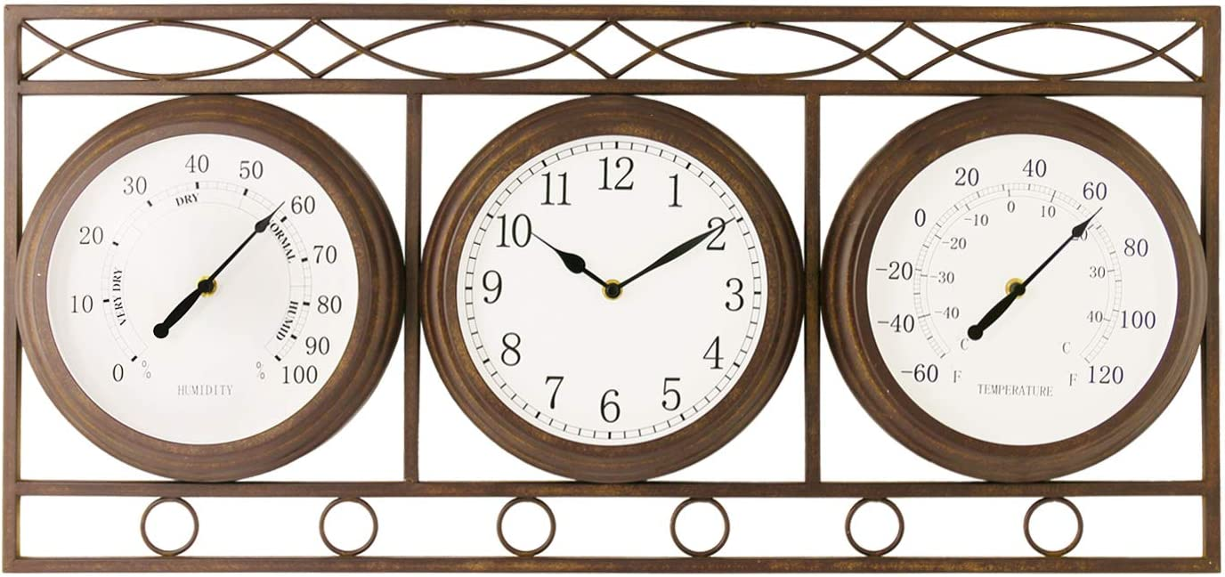 Bestime Three-in-one Metal Clock with Hygrometer. W Thermometer free shipping New product type