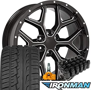 OE Wheels 22 Inch Fit Chevy Silverado Tahoe GMC Sierra Yukon Cadillac Escalade Deep Dish CV98 Black 22x9.5 Rims Ironman iMove Gen2 All Season Tires Lugs TPMS Hollander 5668 SET