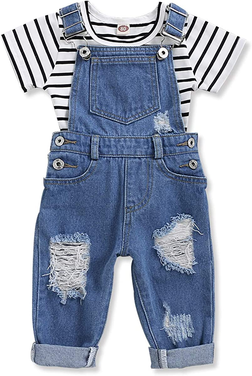 Toddler Kids Girls Jeans Jumpsuit Romper Denim Overalls with T-Shirt Baby Girl Clothes Outfits Set