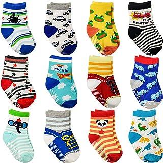 12 Pares de Calcetines Antideslizantes para Niños, Calcetines de Bebés con Diseño Antideslizante, Algodón Lindo con Puños para Bebé Niños 1-3 Años