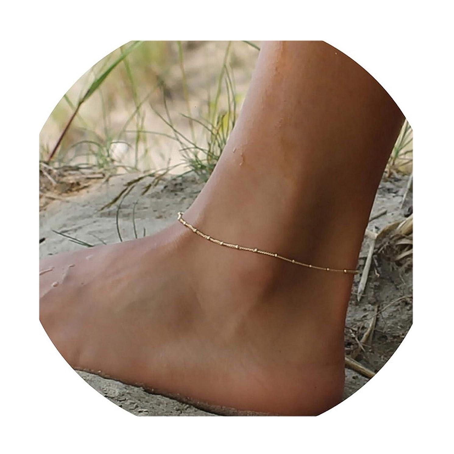 Valloey Women Girls Handmade Dainty Anklet Silver 14K Gold Filled Bead Boho Beach Rhinestone Foot Chain Multi Colored Evil Eye Adjustable Ankle Bracelet for Women