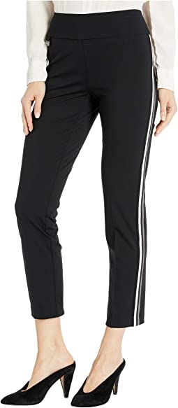 Kathryne Fabric Pull-On Ankle Pants with Side Stripes