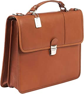 Claire Chase Tuscan Leather Laptop Briefcase, Computer Bag in Saddle