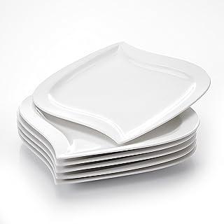 MALACASA, Série Elvira, 6pcs Assiettes Plates Porcelaine, Assiettes et Plats de Services pour 6 Personnes