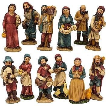 Joy Christmas Pastori in Resina 10 cm per Presepe Set 12 Pezzi