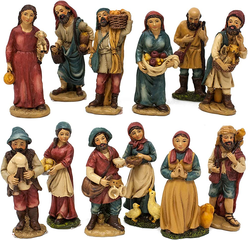 Joy christmas pastori per presepe in resina 10 cm  set 12 pezzi