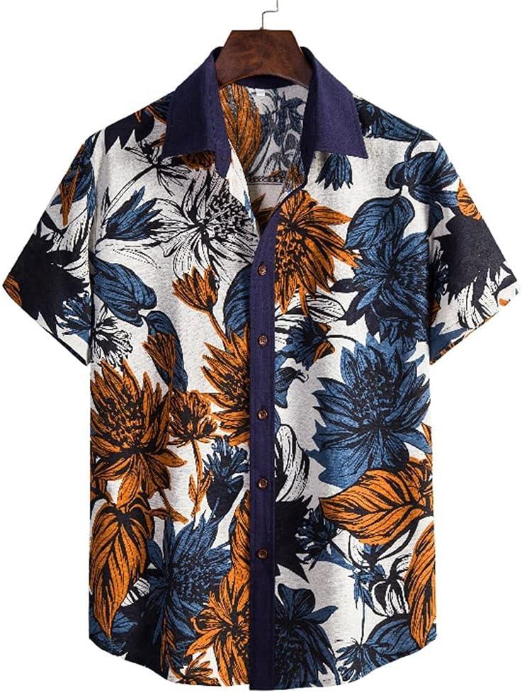 DJASM Mens Hawaiian Beach Shirts Long-awaited Summer Short P Lapel Today's only Men Sleeve