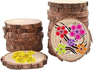 10 Pcs 4.0-4.7inch Natural Wood Slices Round Wood Discs Tree Bark Wooden Circles for DIY Crafting Coasters Arts Crafts Home Decorations Vintage Wedding Ornaments