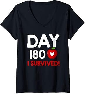 Womens Day 180 I Survived Last Day of School Teacher V-Neck T-Shirt