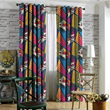 nooweihome Blackout Window Curtain Panel, Solid Pattern Superhero,Cats and Dogs Cape Mask Large Small Window Curtain 108 x L108 inches