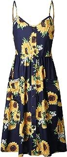SZIVYSHI Sleeveless Spaghetti Strap Button Front Deep V Neck Highwaist Shirred Ruched Pleated Floral Midi A-Line Dress