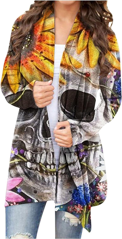 RUIY Halloween Cardigan for Women,Halloween Open Front Long Sleeve Sweaters Funny Pumpkin Ghost Lightweight Cardigan