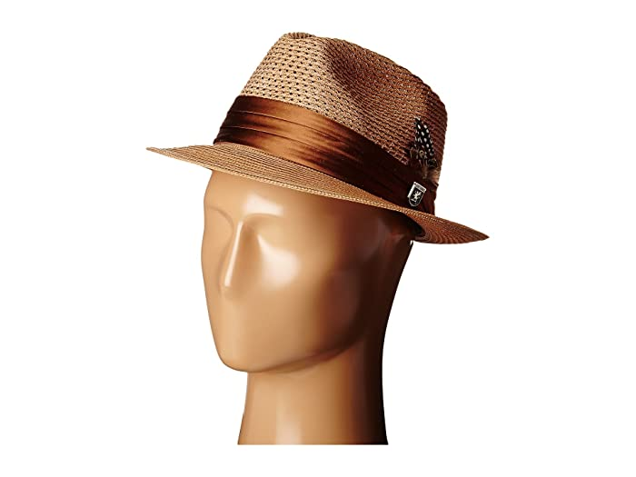 1950s Men's Clothing Stacy Adams Polybraid Pinch Front Fedora with Silk Band Cognac Fedora Hats $22.50 AT vintagedancer.com
