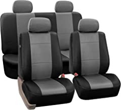 FH Group Universal Fit Seat Cover - Faux Leather (Gray/Black) (Full Set with 4 Headrest Covers)