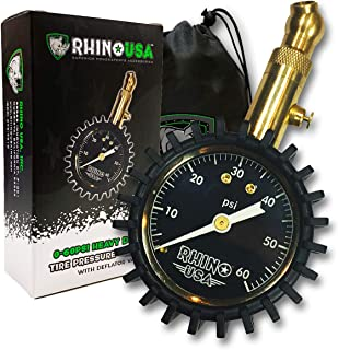 Rhino USA Heavy Duty Tire Pressure Gauge (0-60 PSI) - Certified ANSI B40.1 Accurate, Large 2