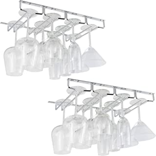 Wallniture Under Cabinet Stemware Glass Storage Rack Chrome Finish 17 3/4 Inch Set of 2
