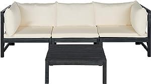 Safavieh PAT6713K Collection Lynwood Grey Modular Sectional Outdoor Set, Dark Slate Gray/Beige