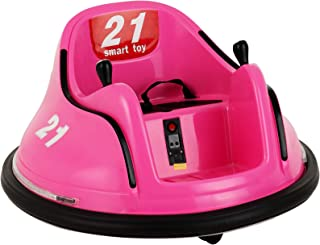 Uenjoy 6V Kids Bumper Ride on Car 360 Degree Spinning Electric Motorized Vehicles, Joystick/Remote Control, Battery Powered, Flashing Lights, Music, Pink