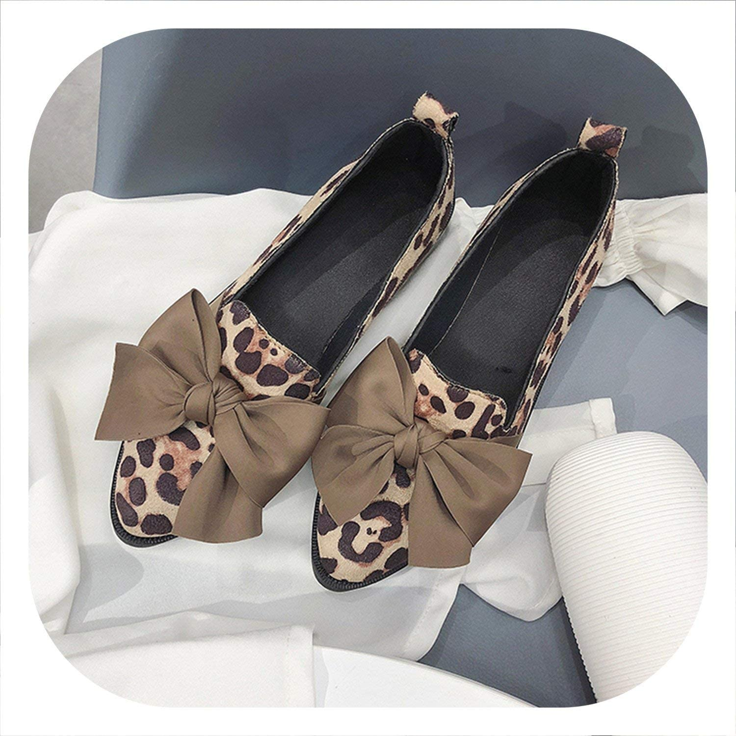 White Island 2019 Classic Brand Flats Casual shoes Women Bowknot Loafers Sexy Leopard Oxford Slip On Moccasins Female Suede Leather Footwear