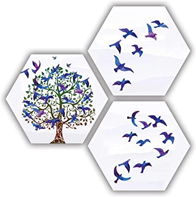 ARTAMORI The Flying Birds and Tree 3 Piece MDF Painting