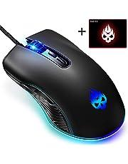 【令和モデル 最大6400dpi 7色LEDライト】 ゲーミングマウス usb 有線 マウス 光学式 高精度トラッキング 6段階DPI切り替え 7ボタン ゲームマウス 手首の痛みを予防 マウスパッド付き ps4 FPS PUBG 荒野行動 PC 静音 DeliToo (有線マウス)