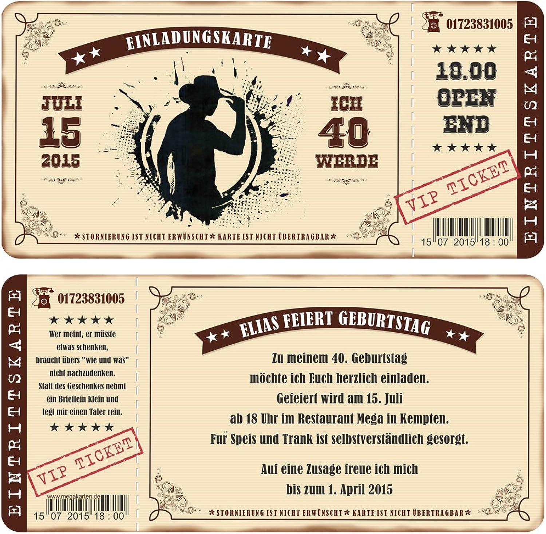 Einladungskarten zum Geburtstag als mit Abriss-Coupon im Country Style, Cowboy 100 Stück B00WQ0M9WE | Qualität Produkte