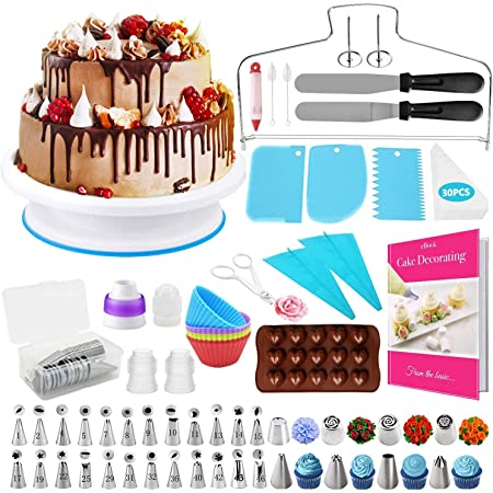 HapeeFun Kit de Fournitures de décoration de gâteaux, 95pcs Set de décoration de gâteaux-Outils de décoration de gâteaux avec 32 Buses de tuyauterie de glaçage, Plateau Tournant de Gâteau, etc.