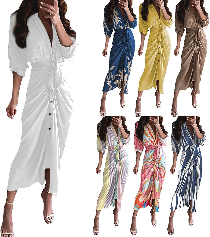 Maxi A Line Dresses Finally popular brand Knee Length security Wrap Women for Irregular T Shirt