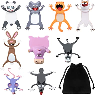 9 Pieces 3D Cartoon Animal Bookmarks Wacky Pals Bookmarks Cute Funny Different Styles Christmas Kids Students School Statione