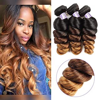 Allove Hair 10a Brazilian Ombre Loose Wave Bundles (10 12 14inch) 3 Bundles Remy Brazilian Virgin Hair 3 Tone 1B/4/27 Ombre Hair Extensions Human Hair Weave Bundles