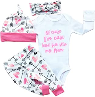 gllive Baby Girls' Clothes Long Sleeve Miracles Romper Outfit Pants Set +Hat+Headband 0-6 Months X-Pink Im Cute