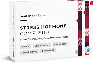 HealthConfirm - Stress Hormone Complete - at-Home Test Kit - 5 Panel Full Day Chronic Anxiety Stress Saliva Test