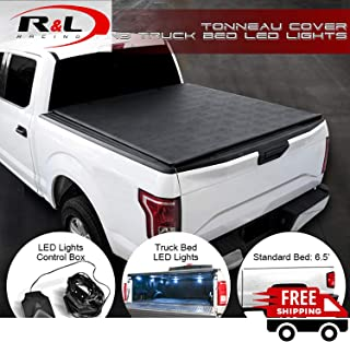 R&L Racing Black Low-Roll Lock Soft Tonneau Cover with LED Lights 2014-2018 for Chevy Silverado/GMC Sierra 6.5 Ft Bed