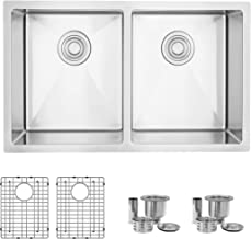 """30""""L x 18""""W Stainless Steel Double Bowl Undermount 16G Kitchen Sink with Grids and Strainers, S-304XG (30 x 18 inch)"""