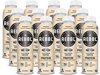 REBBL Plant Powered Protein Elixirs, Cold Brew Coffee Protein, 12 Ounce (Pack of 12)