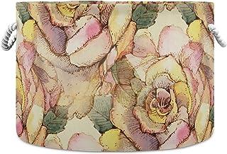 Okrągły kosz do przechowywania kosz vintage kolorowe róże składany wodoodporny kosz na pranie dla niemowląt pokój dziecięc...