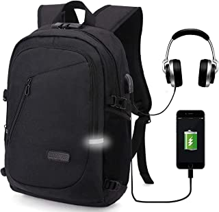 Travel Backpack,Anti Theft Water Resistant College School Bookbag for Women Men,Business Laptop/Compute Backpack with USB Charging Port & Headphone Interface Fits 15.6 Inch Laptop & Notebook,Black