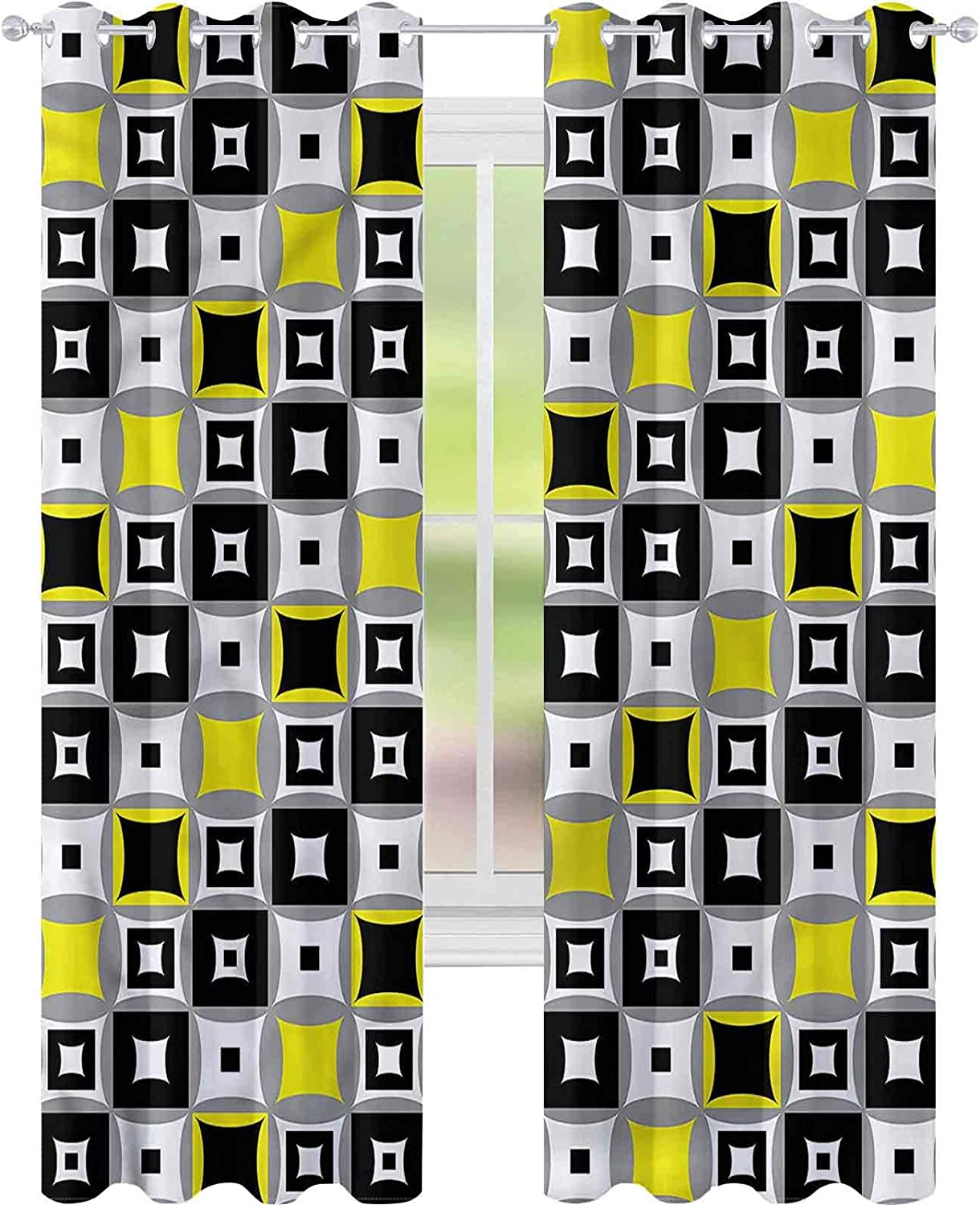 Window Curtain Drape Geometric Artistic Inventory cleanup selling sale San Antonio Mall Contrast Squares L W52 x