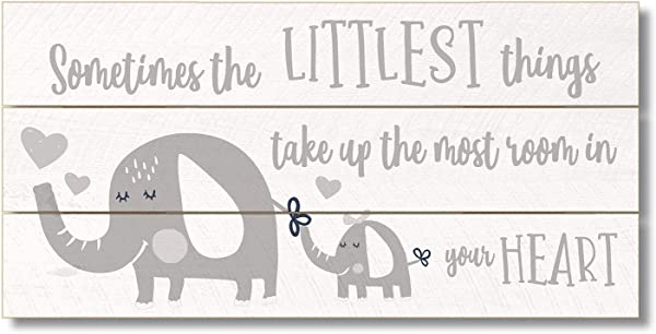 Highland Home Littlest Things Grey With Elephants 12 Inch X 6 Inch Slatted Pallet Wood Sign Made In The USA